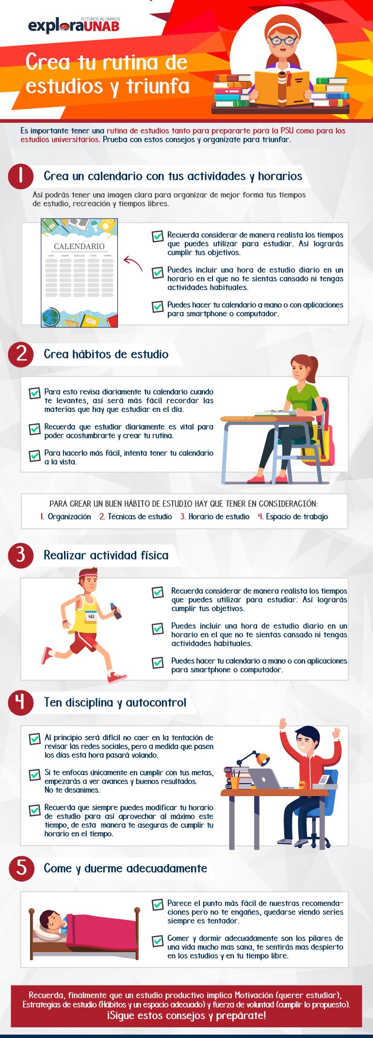 Infografía para crear tu rutina de estudios